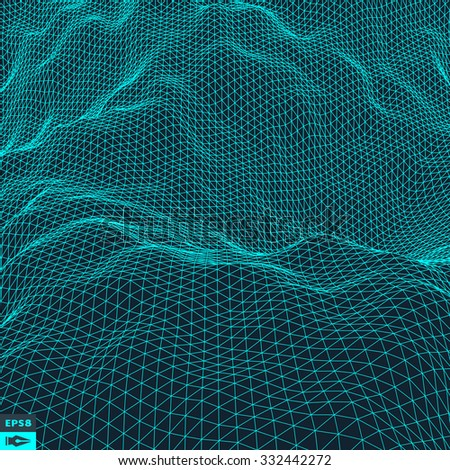 Water Surface. Wavy Grid Background. 3d Abstract Vector Illustration.  - stock vector