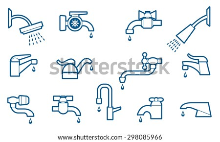 Water tap or faucet line icons set. Valve and pipe, plumbing and equipment. Vector illustration - stock vector