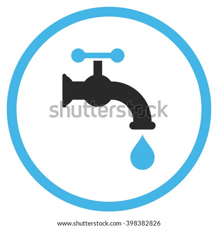 Water Tap vector icon. Style is bicolor flat rounded iconic symbol, water tap icon is drawn with blue and gray colors on a white background.