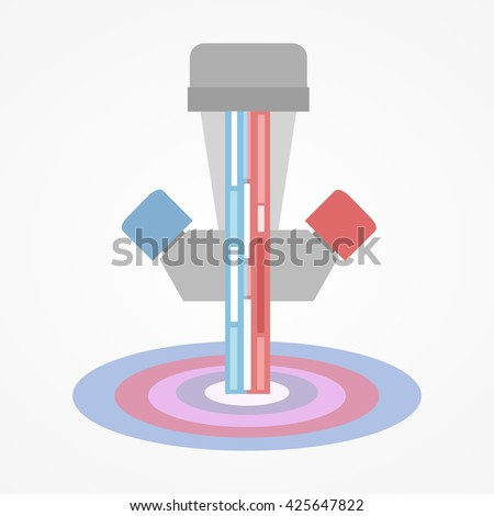 Water tap with cold and hot water - stock vector