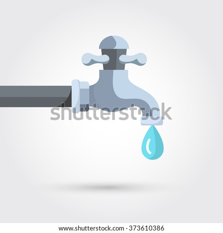 Water tap with drop - stock vector