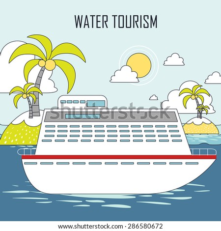 water tourism concept: cruise and island in line style