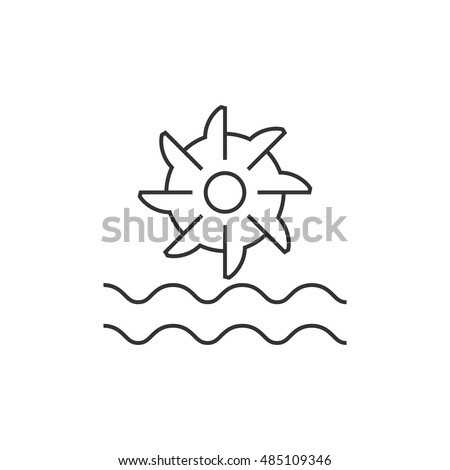 Water turbine icon in thin outline style. Energy renewable green environment