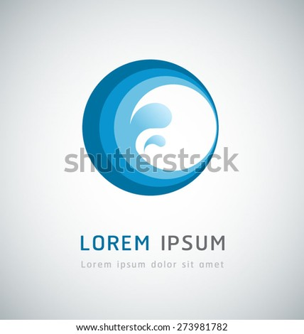 Water wave abstract icon design - stock vector