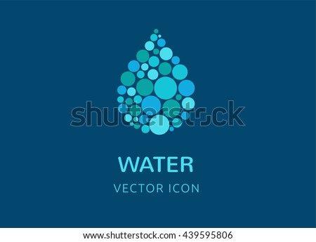 water, wave and drop icon, symbols - stock vector