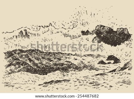 Water wave in the sea, vintage engraved illustration, hand drawn, sketch - stock vector