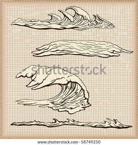 Water wave set - part one - stock vector