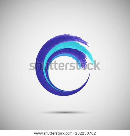 Water wave watercolor in the circle vector design logo template.  - stock vector