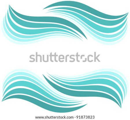 Water waves border. Vector illustration design - stock vector