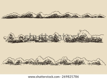 Water waves in the sea (design elements), vintage engraved vector illustration, hand drawn, sketch - stock vector