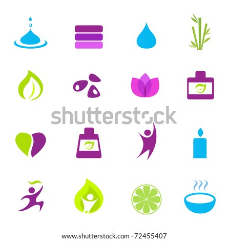 Water, wellness, nature and zen icons - pink, green, blue. Vector - stock vector