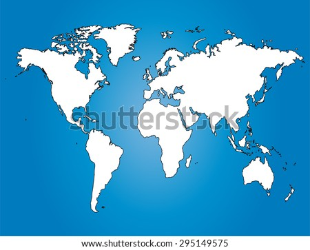 Water World Map Illustration Largest Cities Stock Vector 295149575