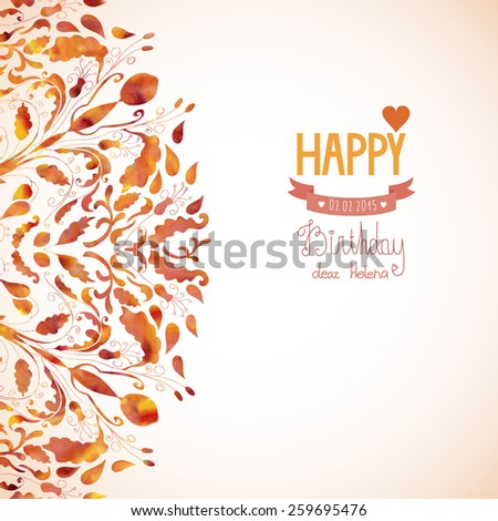 Watercolor abstract floral background with text for greeting card. Vector illustration eps 10 - stock vector