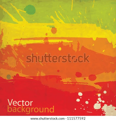 Watercolor abstract worn old vector background with splashes - stock vector