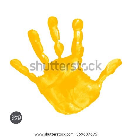 Watercolor Acrylic Yellow Kids Handprint Isolated Stock Vector ...