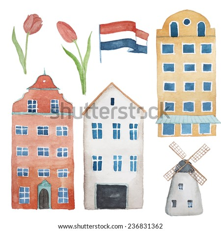 Watercolor Amsterdam objects set. Isolated illustrations in vector: buildings, tulips, old windmill, the flag of the Netherlands - stock vector