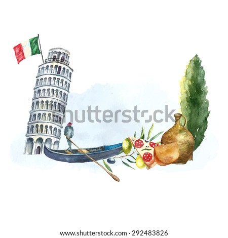 Watercolor artistic tower of Pisa and Italian poplar logo. Hand drawn frame with Italian elements: tower of Pisa, gondola, poplar, clay jug, cheese and slice of pizza. Vector vintage label design. - stock vector