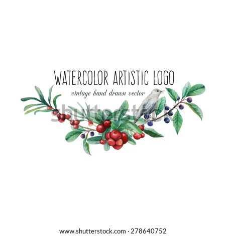 Watercolor artistic wild berries and bird logo. Hand drawn floral frame text with natural elements: blue and red berries, leaves, branches and bird. Vector vintage label design - stock vector