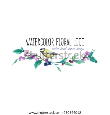 Watercolor artistic wild berries and real bird logo. Hand drawn floral frame text with natural elements: blue and black berries, leaves, branches, bird. Vector vintage label design - stock vector