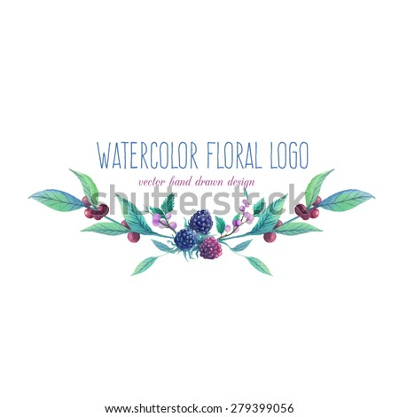 Watercolor artistic wild berries logo. Hand drawn floral frame text with natural elements: blue and black berries, leaves, branches. Vector vintage label design - stock vector