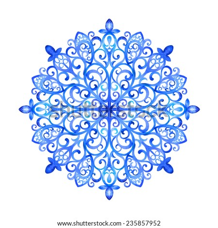 Watercolor artwork with a snowflake. Hand drawn illustration - stock vector