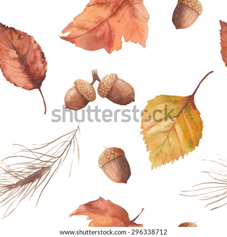 Watercolor autumn nature pattern. Hand drawn seamless texture with yellow and orange tree leaves, acorn, pine needles branch isolated on white background. Vector season wallpaper - stock vector