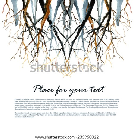 Watercolor background. Bare winter branches of the trees. Vector illustration. - stock vector