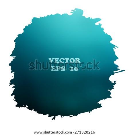 Watercolor background blue.  Original unusual blot isolated. - stock vector