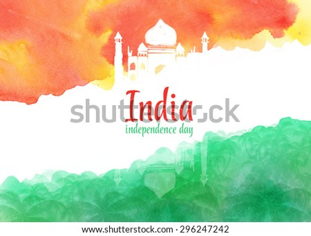 watercolor background for Indian independence day. Background of stylized watercolor drawing the flag of India and contain images of Indian palace and palm trees. - stock vector