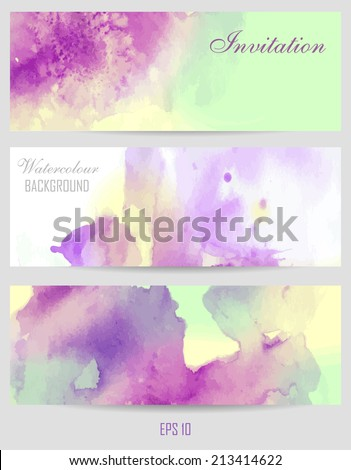 Watercolor background. Lavender color with bright green and yellow flowers. Spring theme. Set of postcards. Beautiful blurred watercolor background for your design and decoration  - stock vector