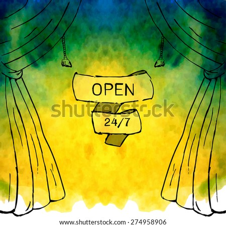 Watercolor background with curtains - stock vector