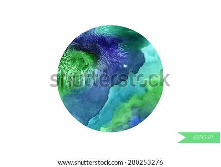 Watercolor ball isolated on white background. Vector illustration - stock vector
