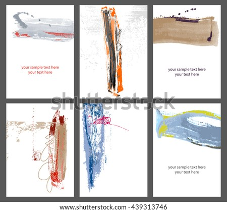 Watercolor banners. Grunge backgrounds. Colorful ink strokes, brush set - stock vector