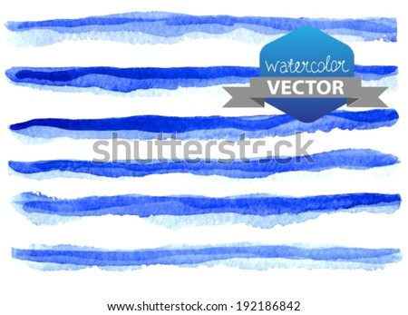 Watercolor beautiful blue lines over white, hand drawn, VECTOR - stock vector