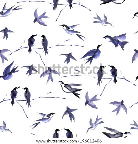 Watercolor bird seamless pattern can be used for wallpaper, website background, textile printing - stock vector