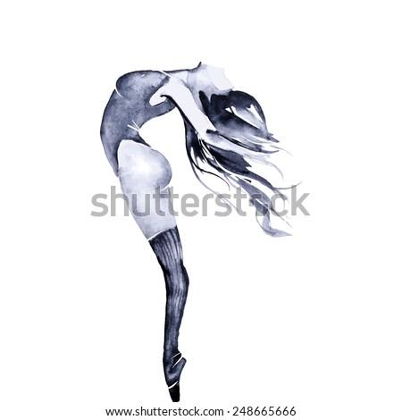 Watercolor black ballerinas, vector - stock vector