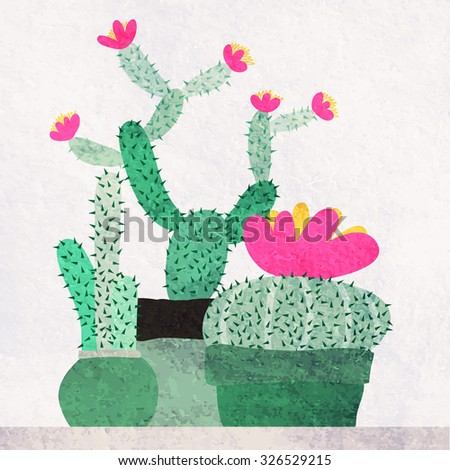 Watercolor blooming succulents and cactus vector illustration