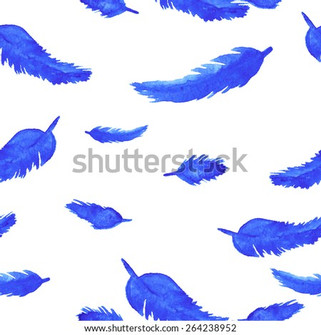Watercolor blue feathers on white background seamless pattern - stock vector