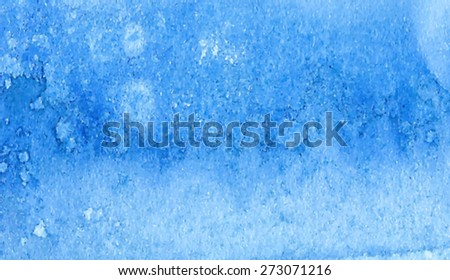 Watercolor blue hand drawn macro paper texture banner. Wet brush painted smudges and stains abstract illustration. Artistic vector background. Decorative design card, print, template, cover, poster - stock vector