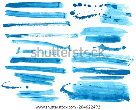 Watercolor blue / ink brush strokes collection - stock vector