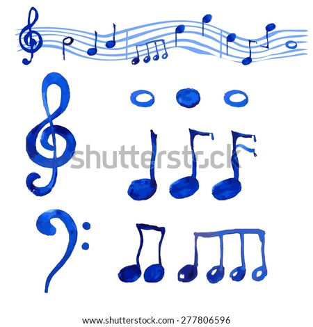 Watercolor blue  musical notes set.Treble clef and G clef, and different notes on the white background.Hand drawn set. - stock vector