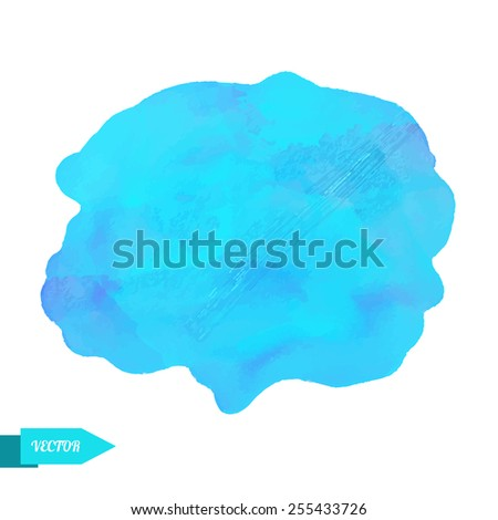 Watercolor blue paint stain isolated on a white background. Art abstract. Frame  - stock vector