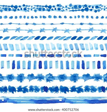 Watercolor blue seamless pattern,line borders,hand painting background.Vector blue wavy brushes,cyan color.Water artistic texture.Watercolor design template.Summer Holiday,vacation line background. - stock vector