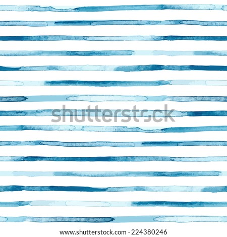 Watercolor blue stripes. Seamless pattern. Vector illustration - stock vector