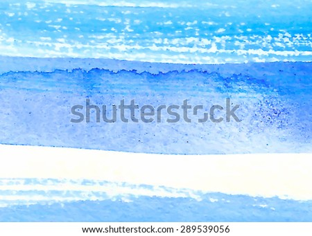 Watercolor blue strokes hand drawn paper texture striped torn background. Wet brush painted smudges and streaks abstract vector illustration. Design water element for banner, print, template, web  - stock vector