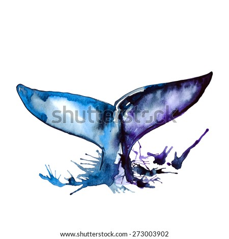 Watercolor blue whale tail, vector - stock vector