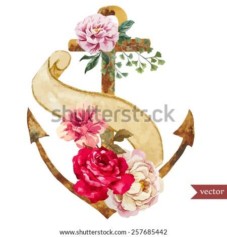 watercolor, boho, flower, anchor, pen, paper - stock vector