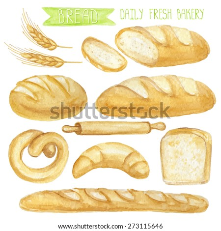 Watercolor Bread set.Different type of bread.Daily Fresh organic pastries  products, loaf, bread, croissant, cookies, baguette, pretzel,roll pin.Vintage vector set,isolated.For card,poster,banner - stock vector