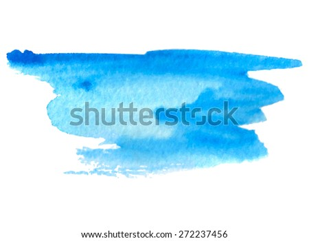 Watercolor brush painted blue isolated stain on white background. Hand drawn strokes and smudges paper texture vector illustration. Design striped water abstract element for banner, print, template - stock vector