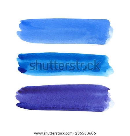 Watercolor brush stroke vector set.Hand drawn paint isolated on white background - stock vector